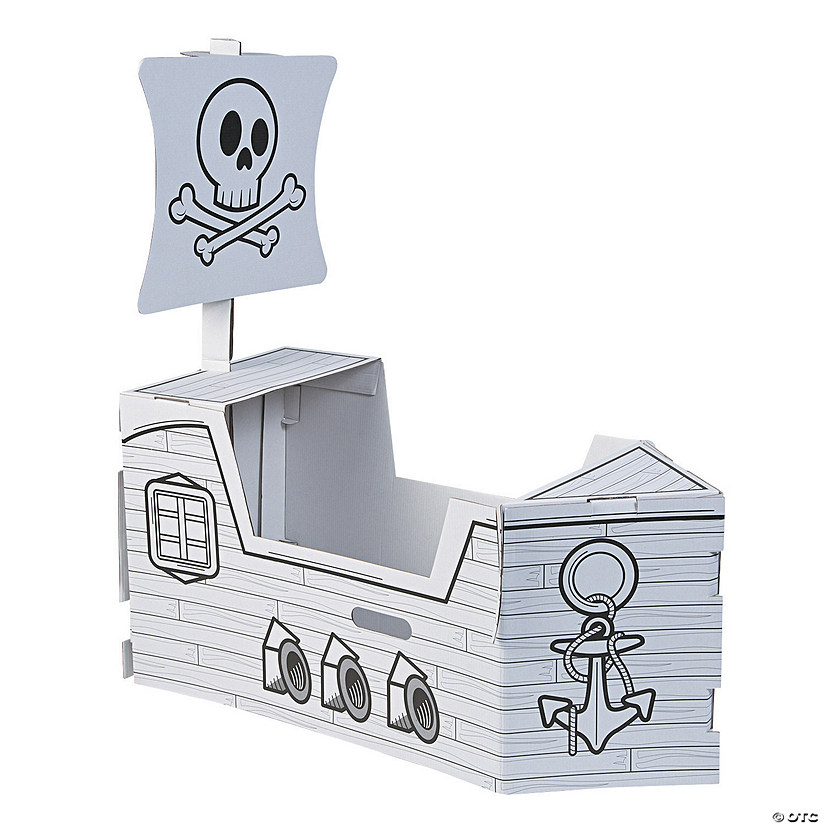 Color Your Own Pirate Ship Box Costume