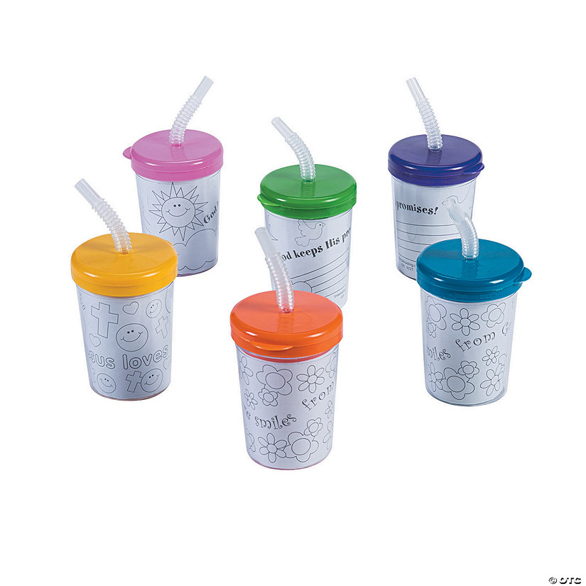 Color Your Own Religious Cups with Lids & Straws