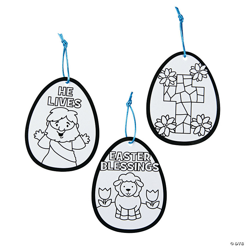 Color Your Own Religious Christmas Ornaments: Color Your Own Religious Easter Egg Ornaments
