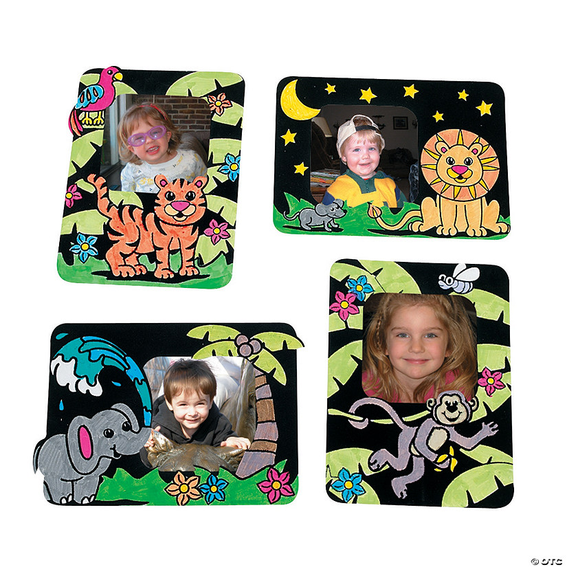 Color Your Own Safari Fuzzy Picture Frame Magnets