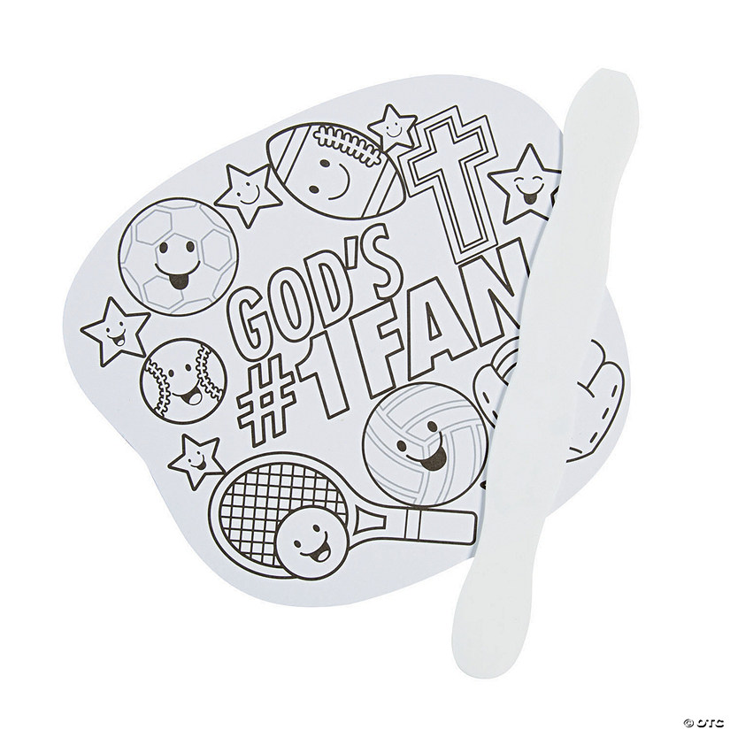 Color Your Own Sports VBS Hand Fans