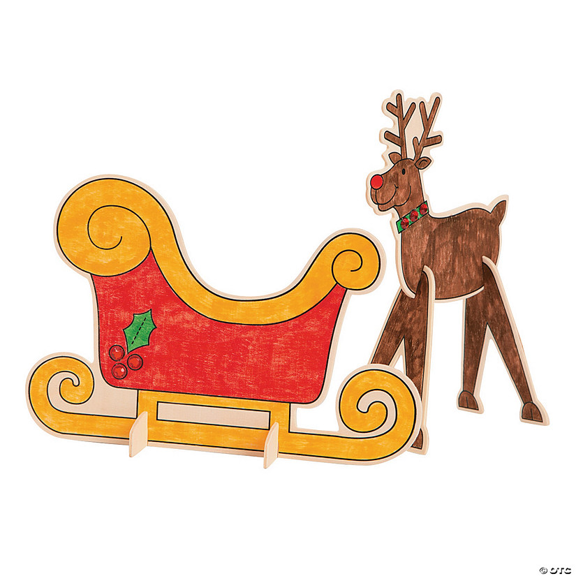 Color Your Own Stand-Up Reindeer Sleigh