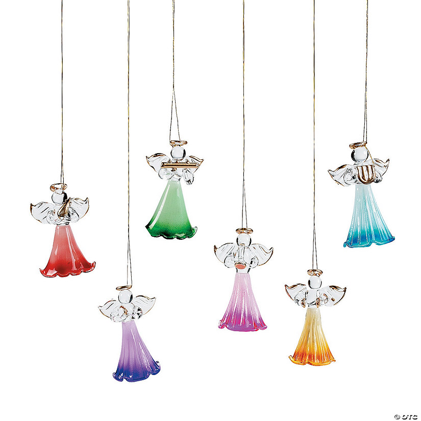 Colored Glass Angel Ornaments
