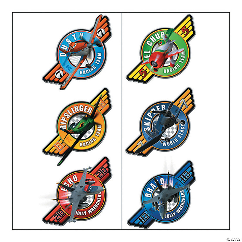 Colorful Disney Planes Tattoos - 12 Pc.