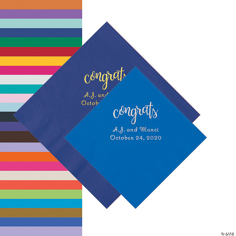 Congrats Personalized Napkins - Beverage or Luncheon