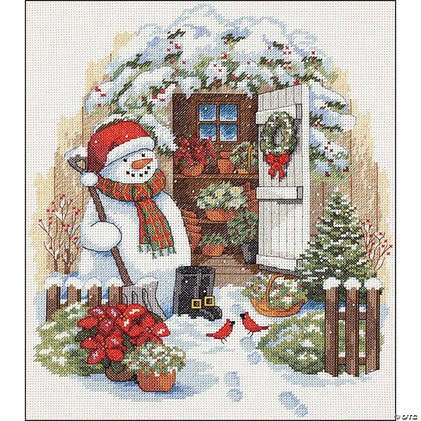 Counted Xstitch Kit-Garden Shed Snowman