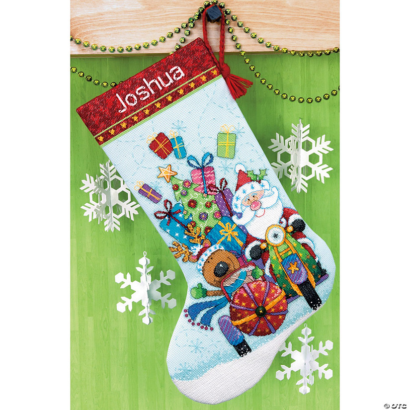 Counted Xstitch Kit-Santasidecarstocking