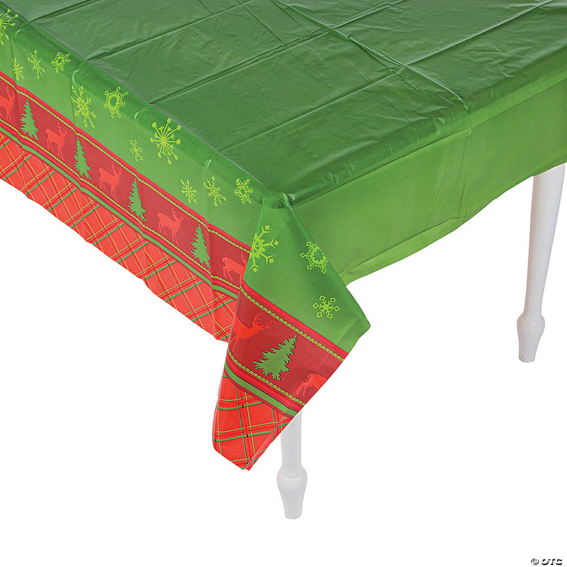 Cozy Christmas Plastic Tablecloth