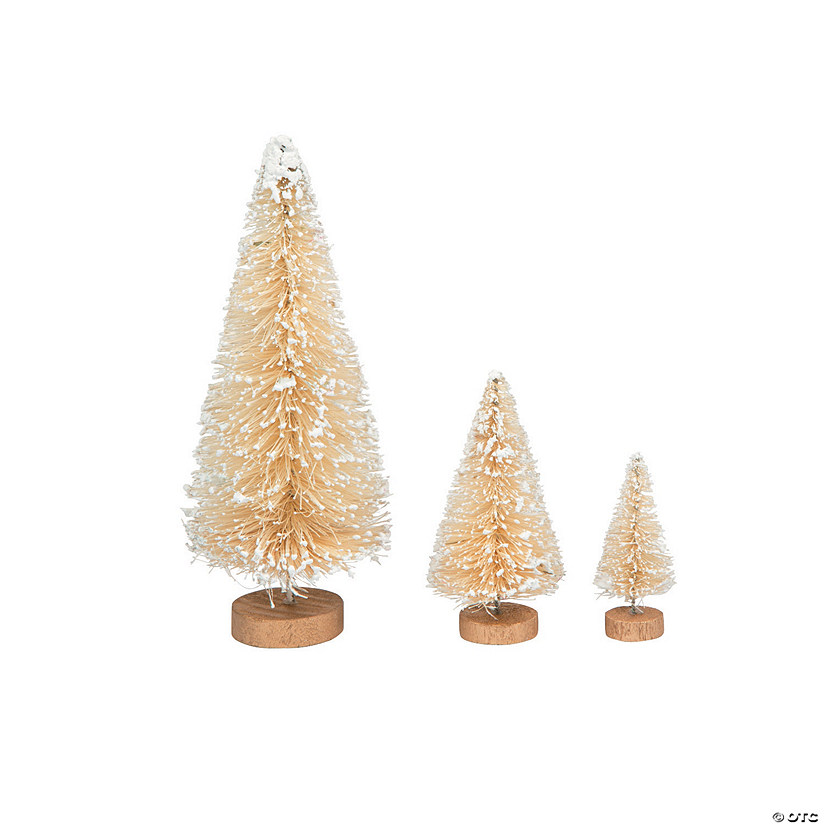 Cream Frosted Sisal Tree Assortment