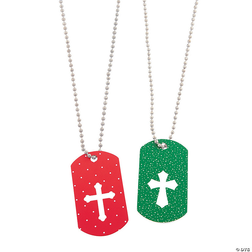 Cross Cutout Christmas Dog Tag Necklaces
