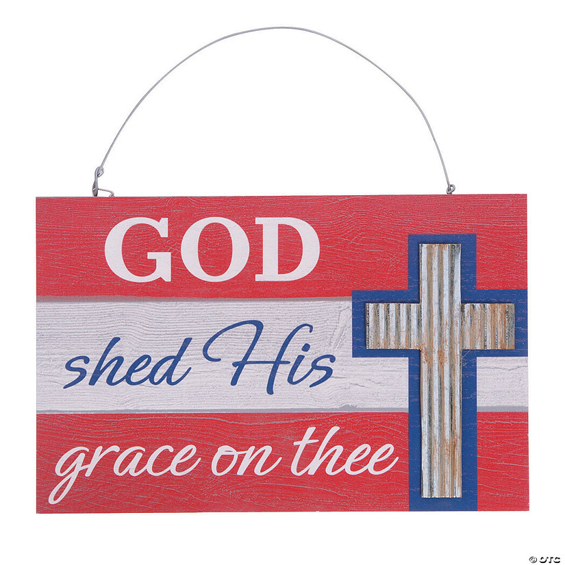 Cross With American Flag Wall Sign