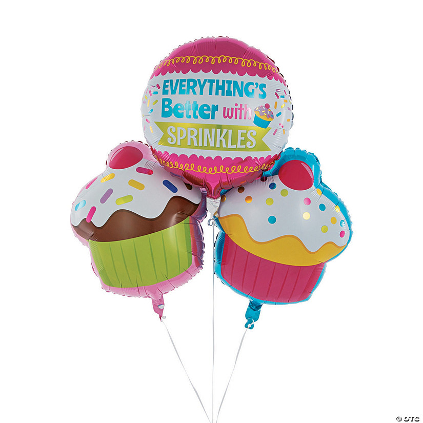 Cupcake Party Mylar Balloons
