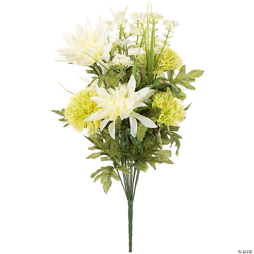 "Dahlia & Carnation Bush W/12 Flowers 19""-Cream Mix"