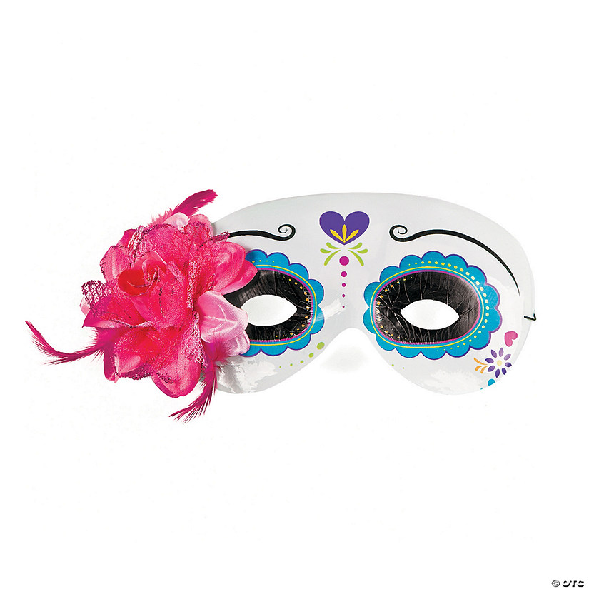 Day of the Dead Half Masks with Flower