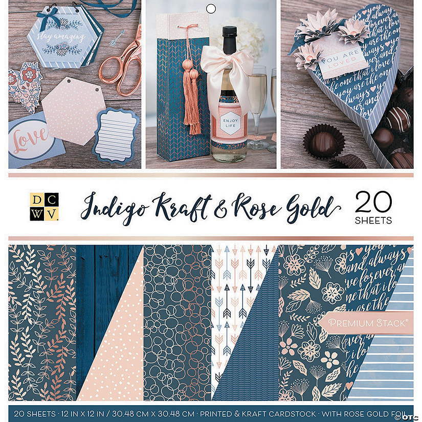 "Dcwv Double-Sided Cardstock Stack 12""X12"" 20/Pkg-Indigo Kraft & Rose Gold, 10 Designs"