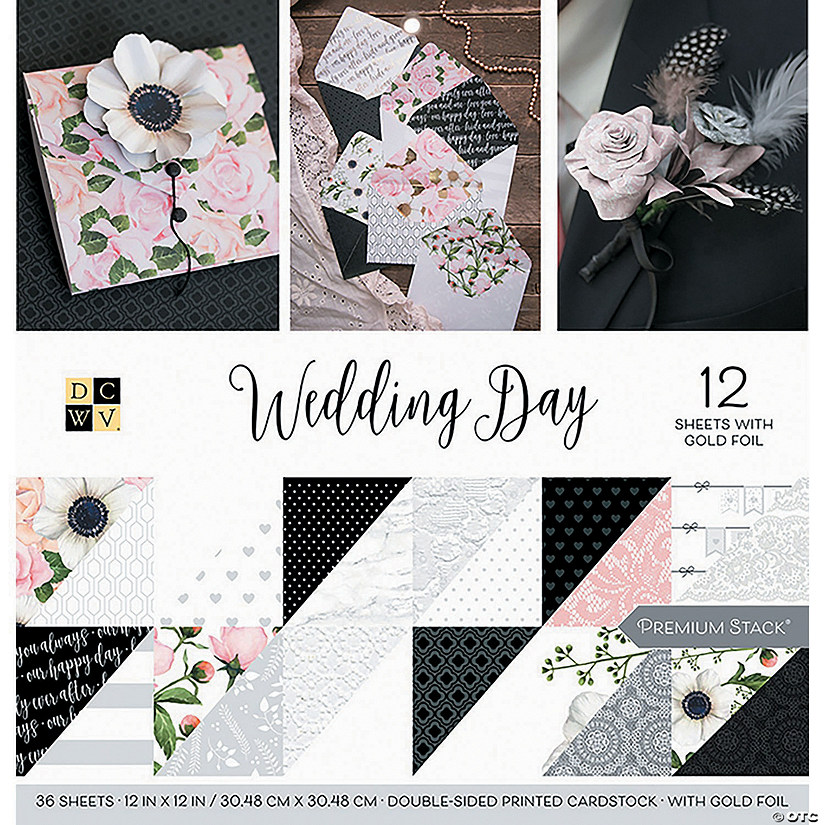 "Dcwv Double-Sided Cardstock Stack 12""X12"" 36/Pkg-Wedding Day, 18 Designs/2 Each"