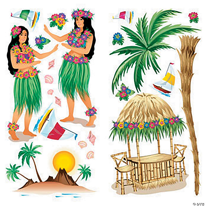 Design-A-Room Hula Girls Backdrop Set
