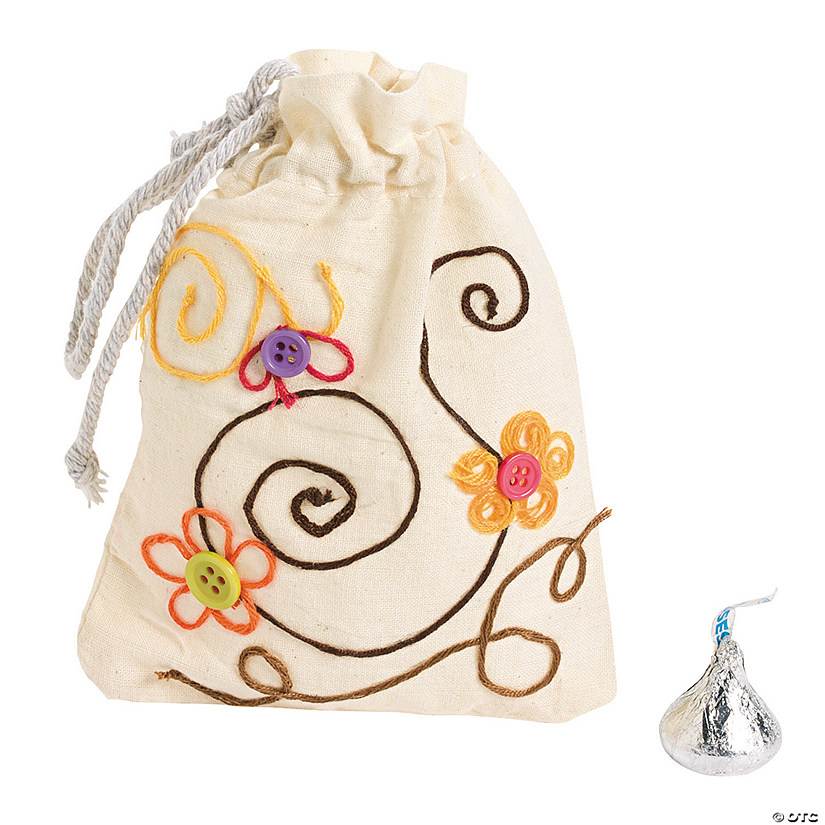 DIY Mini Canvas Drawstring Bags - 48 pcs.