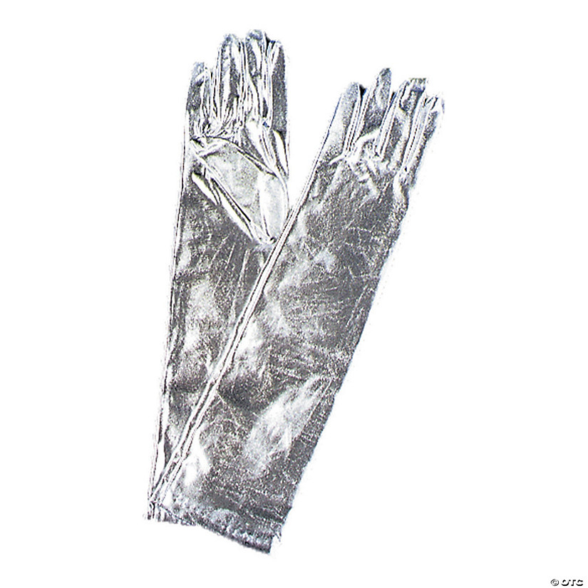 Elbow Length Metallic Silver Gloves