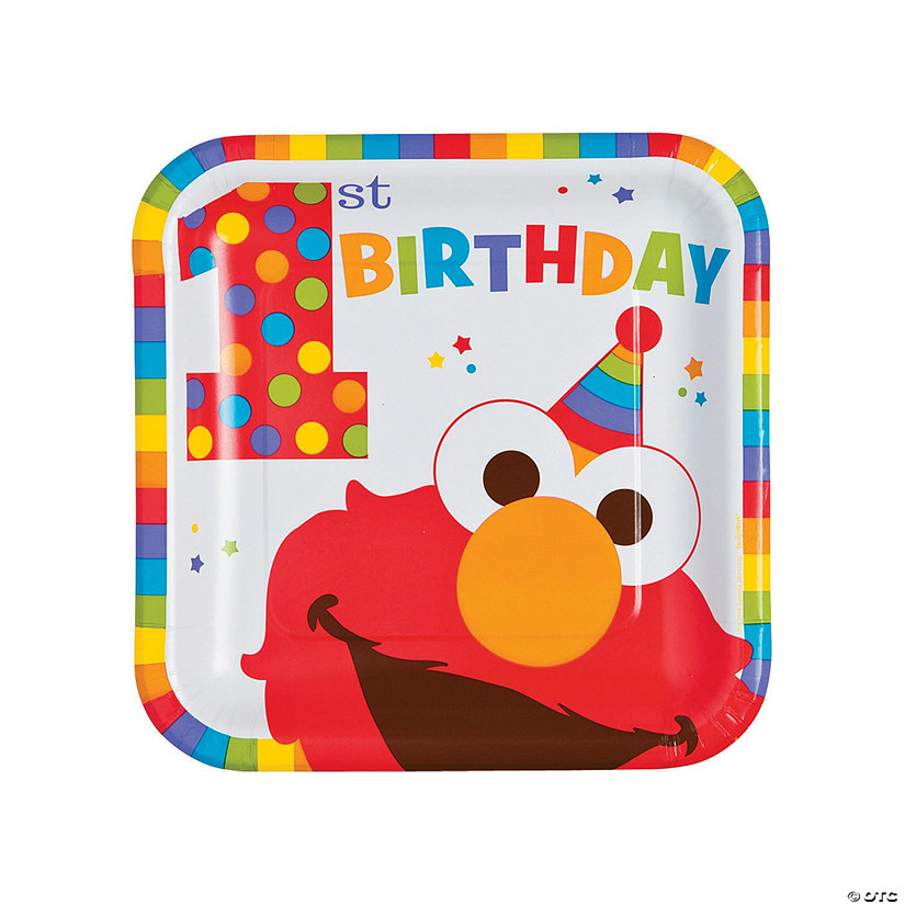 Elmo Turns One Square Paper Dinner Plates