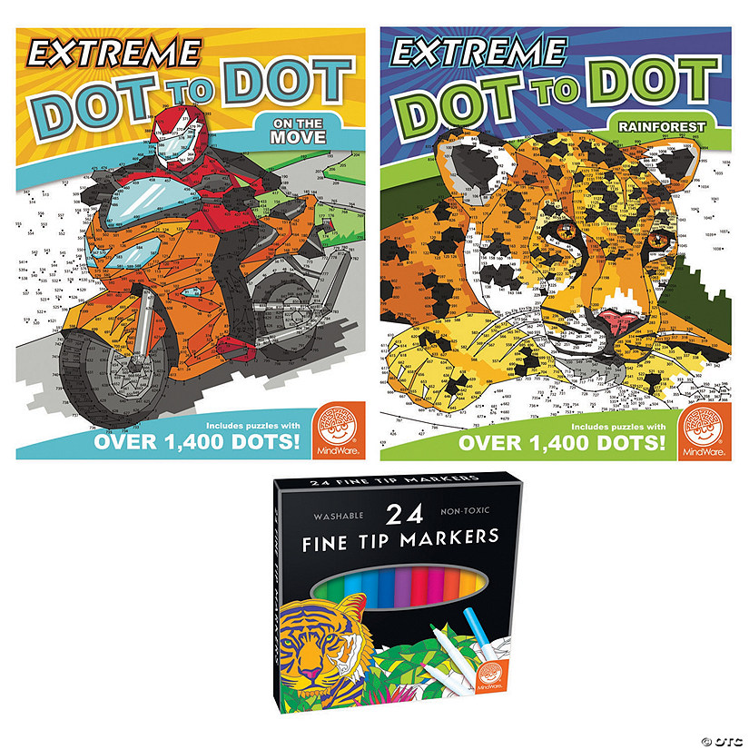 Extreme Dot to Dot: Rainforest and On The Move: Set of 2 With Free Markers