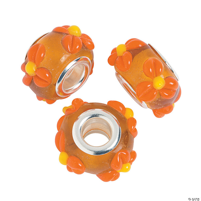 Fall Large Hole Beads with Flowers