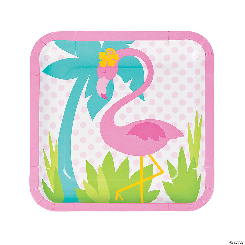 Flamingo Square Paper Dinner Plates