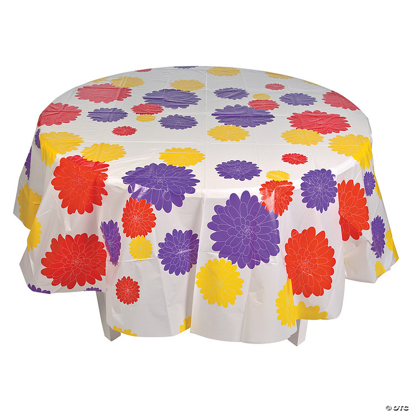 Floral Print Round Plastic Tablecloth