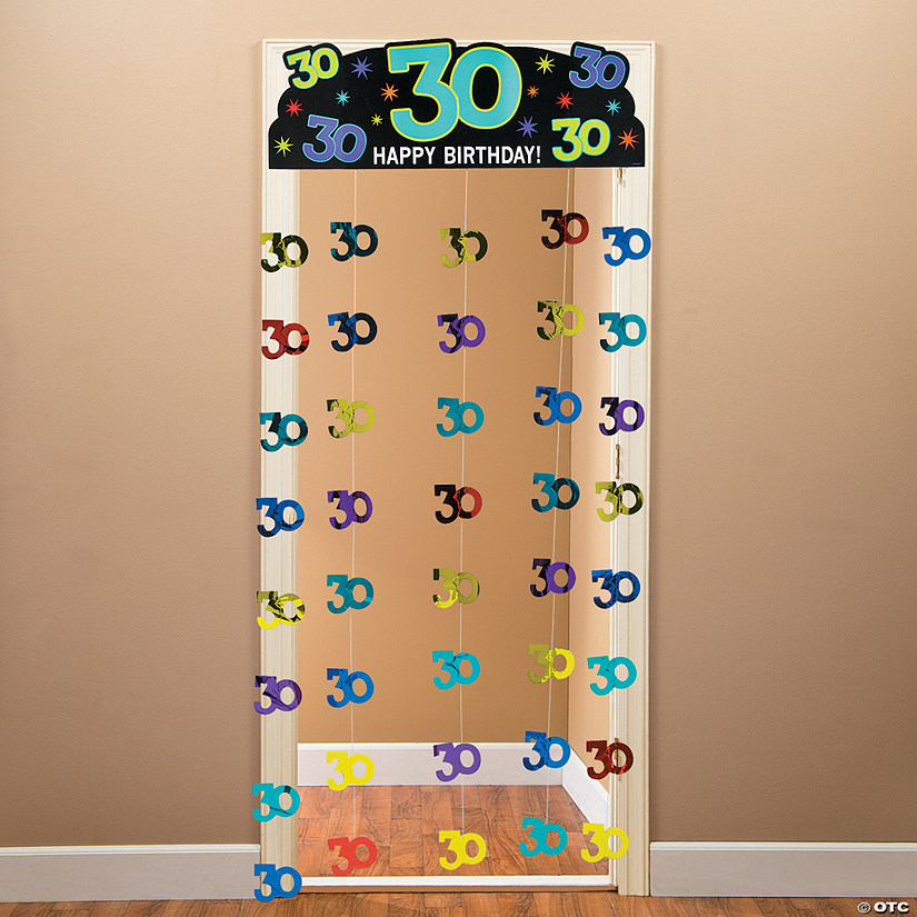 Foil 30th Party Continues Door Curtain