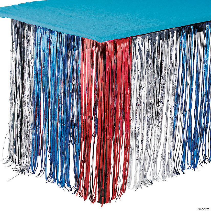 Foil Patriotic Fringe Table Skirt