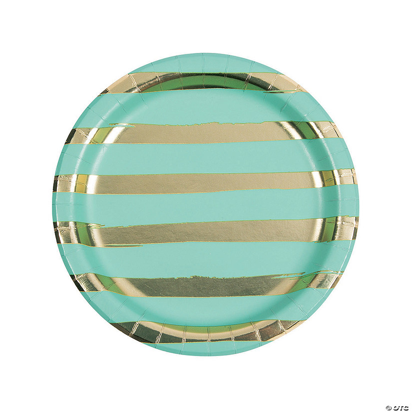Fresh Mint & Gold Foil Striped Paper Dinner Paper Plates