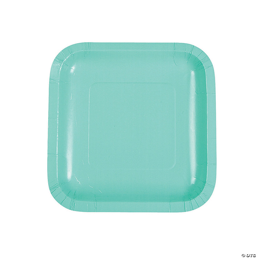 Fresh Mint Green Square Dessert Paper Plates