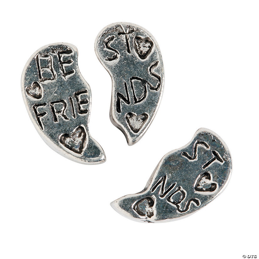 Friends Heart Large Hole Beads - 12mm