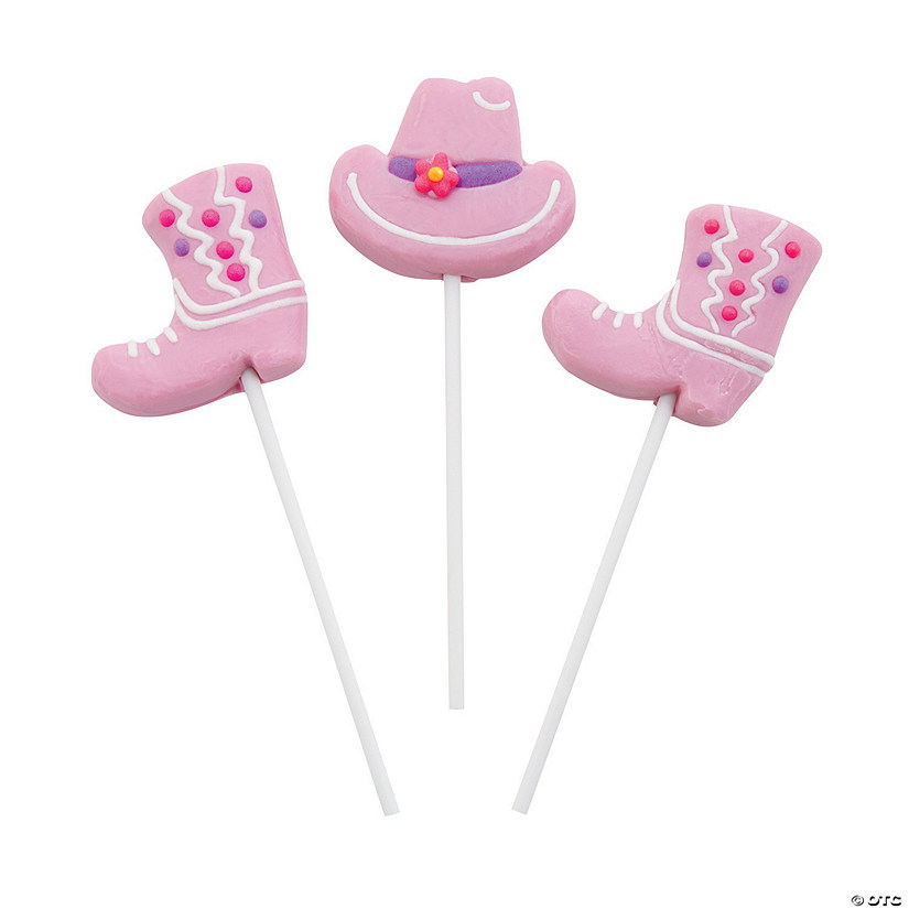 Frosted Pink Cowgirl Hats & Boots Lollipops