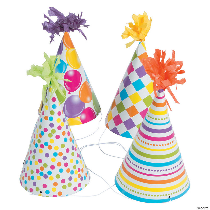 Fun Print Birthday Cone Hats