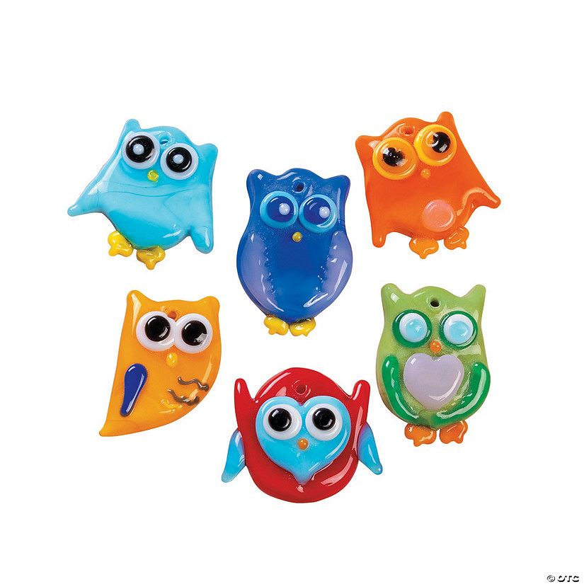 Fused Glass Owl Charms