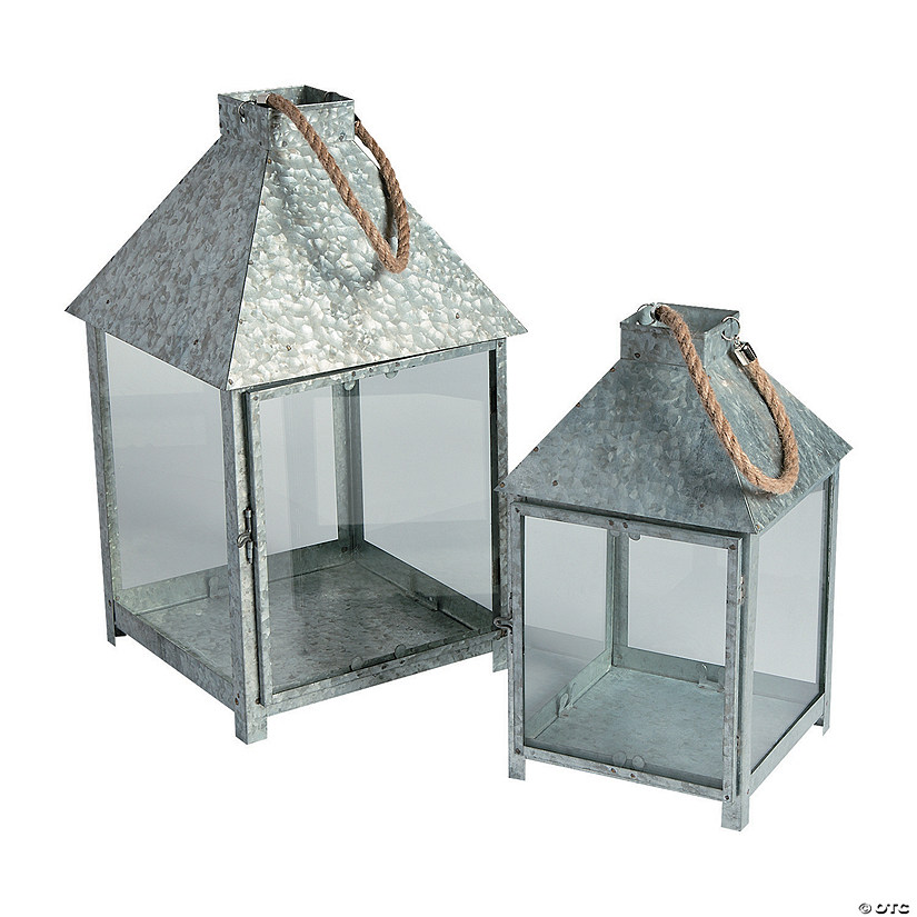 Galvanized Lantern Candle Holders