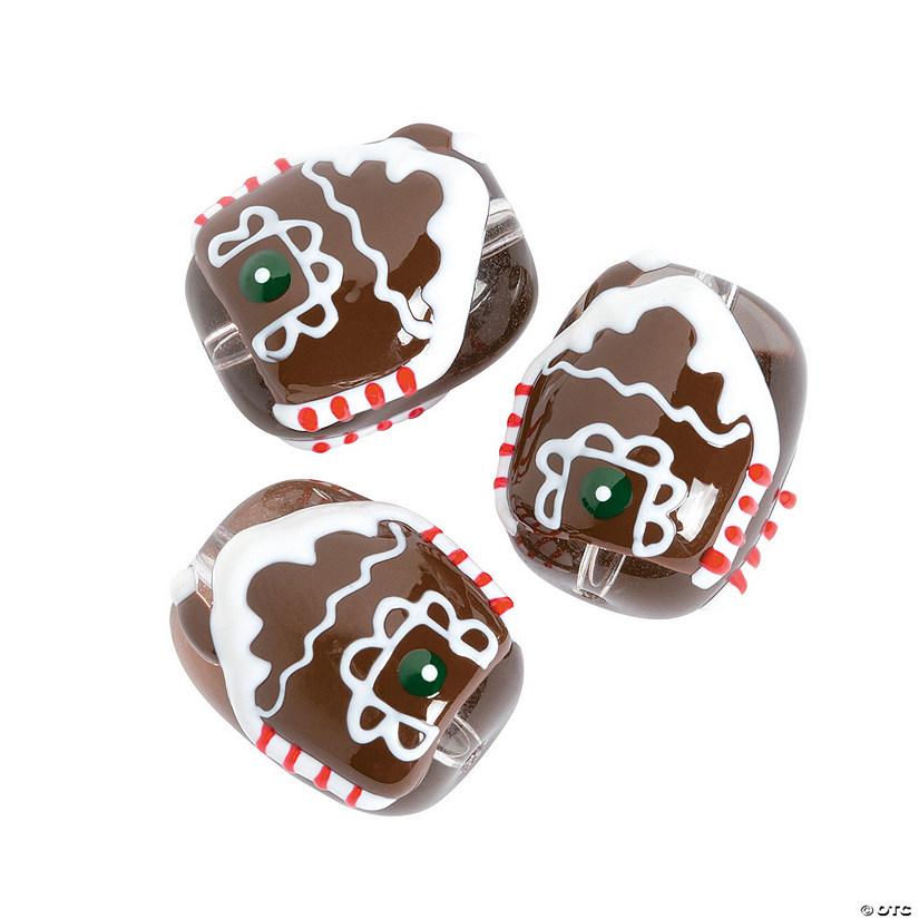 Gingerbread House Premium Glass Beads - 18mm