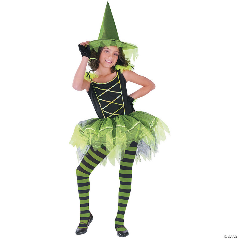 Girl's Green Ballerina Witch Costume