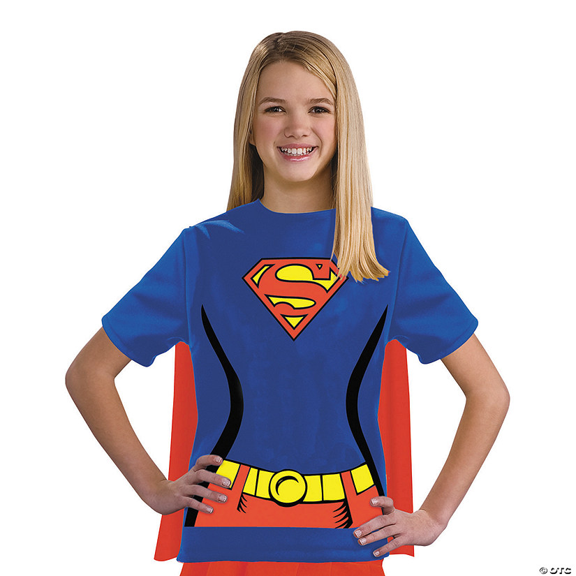 Girl's Supergirl T-Shirt with Cape Costume
