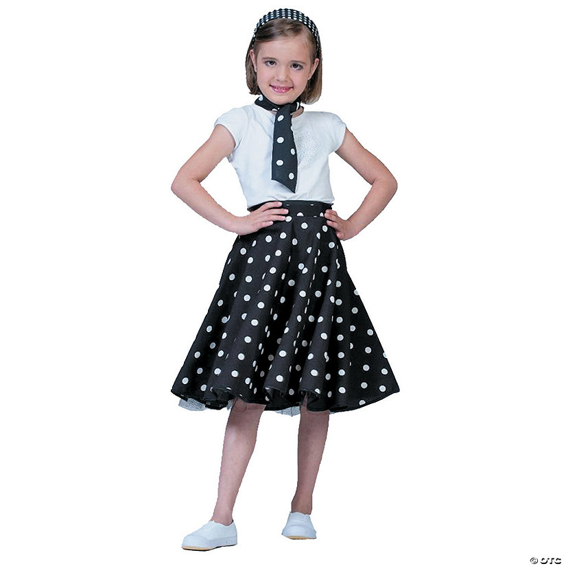 Girl's Black & White Sock Hop Costume