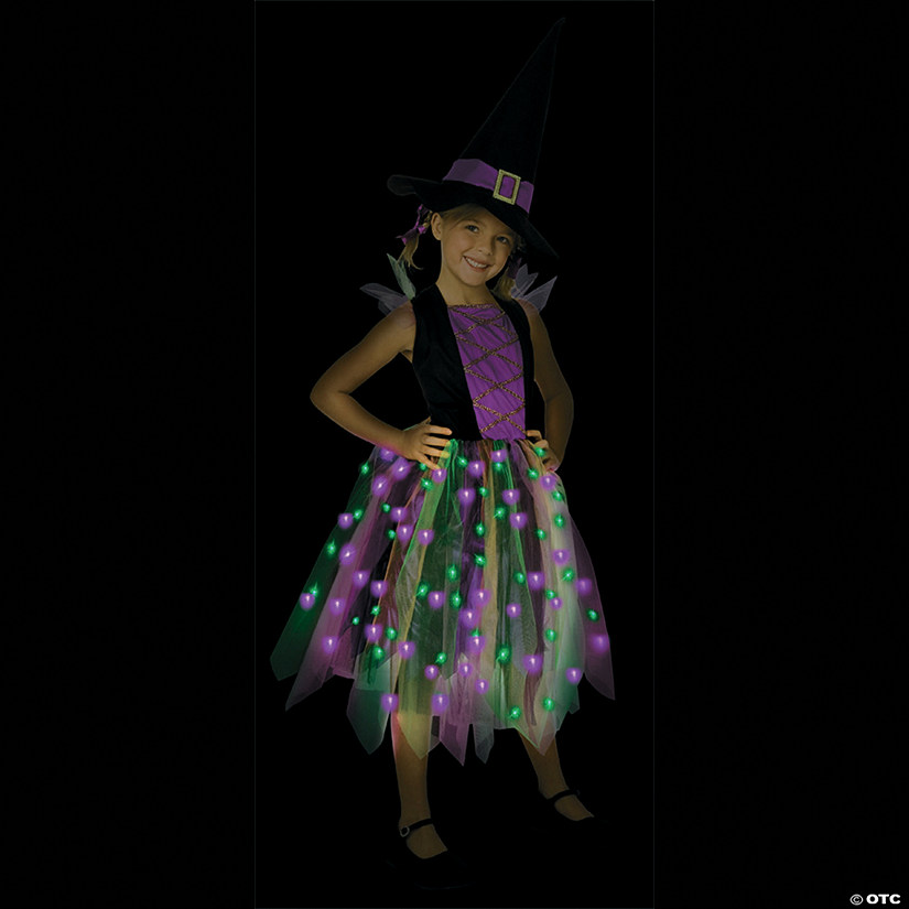 Girl's Light-Up Rainbow Witch Costume - Large