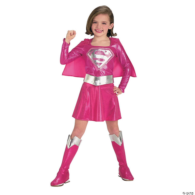 Girl's Pink Deluxe Supergirl™ Costume