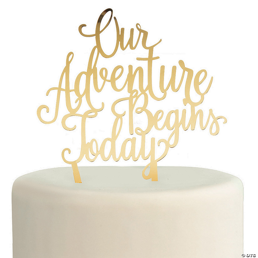 Gold Adventure Begins Cake Topper