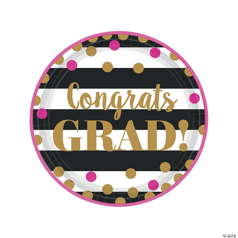 Gold Confetti Graduation Paper Dinner Plates
