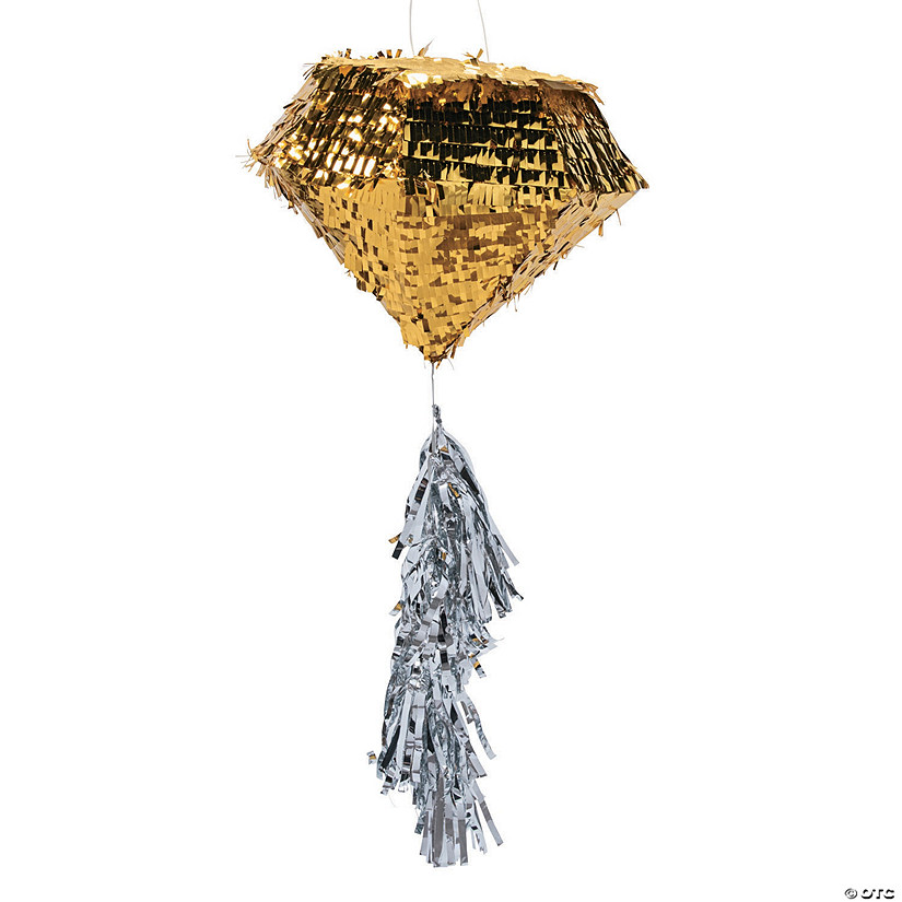 Gold Diamond Piñata with Silver Tassel