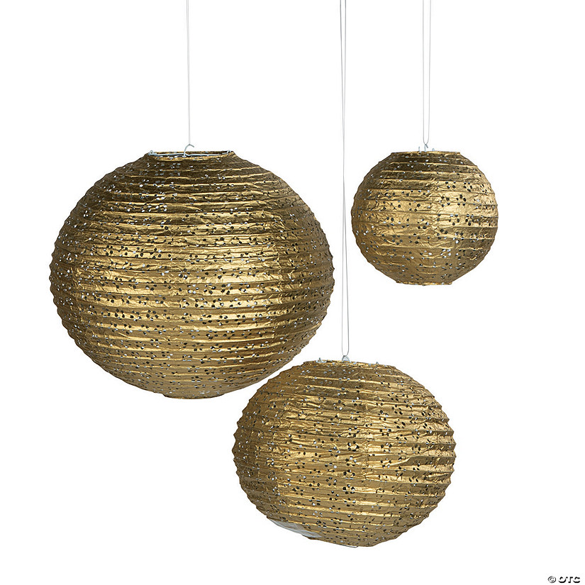 Gold Eyelet Hanging Paper Lantern Assortment