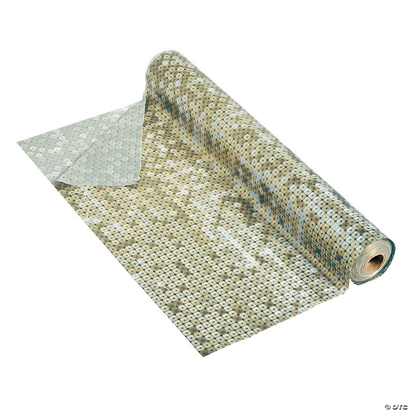 Gold Faux Sequin Plastic Tablecloth Roll