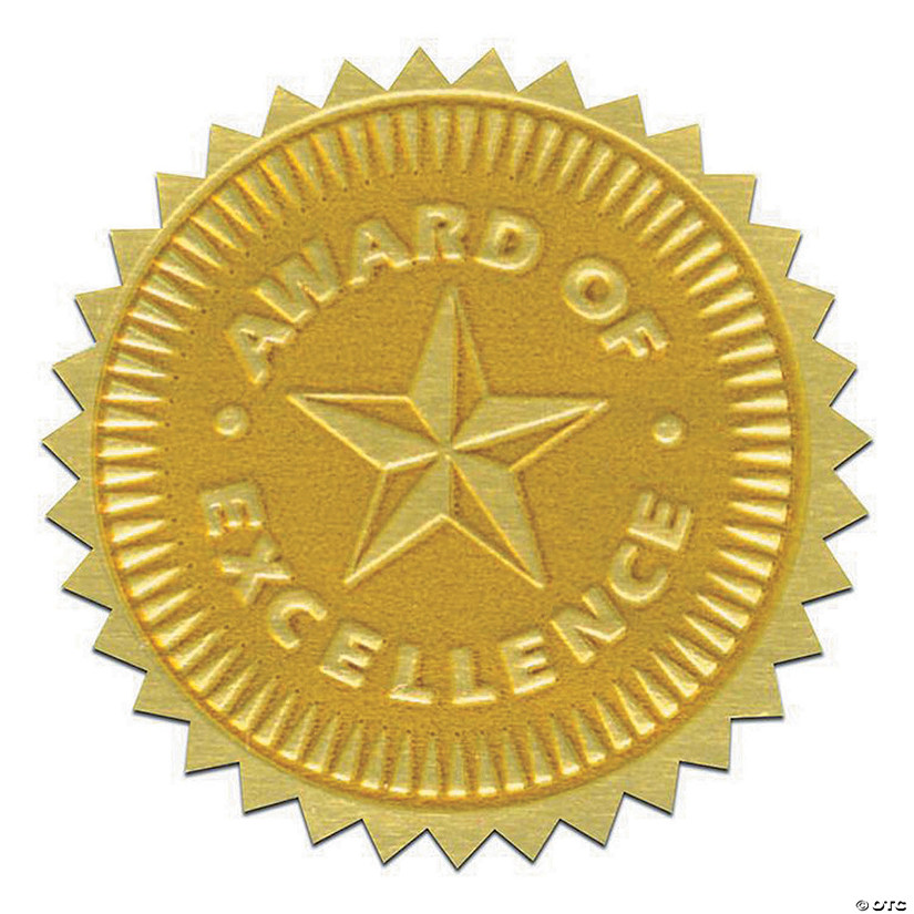 Gold Foil Embossed Seals, Award of Excellence, 54 per Pack, 3 Packs