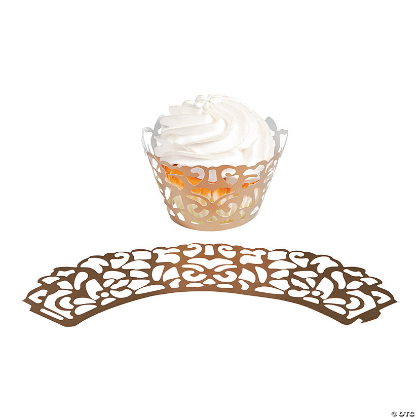 Gold Laser-Cut Cupcake Wrappers